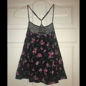 Mossimo black and pink floral racerback tank